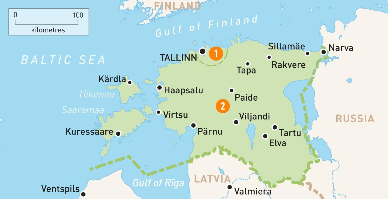 Kartta Viron Kartta Viro Pohjois Eurooppa Eurooppa
