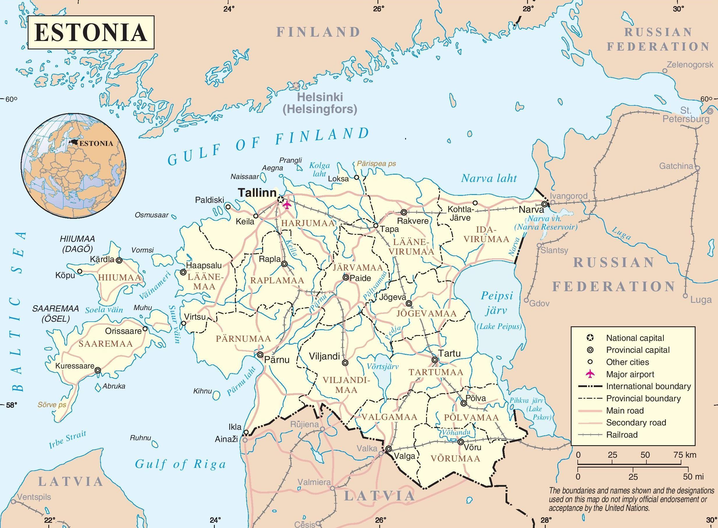 Viron Kartta Viron Kartta Pohjois Eurooppa Eurooppa